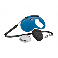 Flexi New Classic SET Blu: Guinzaglio+Multibox+LED