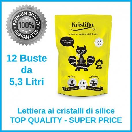 Kristilla Sabbia in Cristalli di Silice Offerta 12 Sacchetti x 5,3 Litri