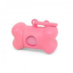 Dispenser Sacchetti Igienici Osso Rosa 2 Rotoli Inclusi