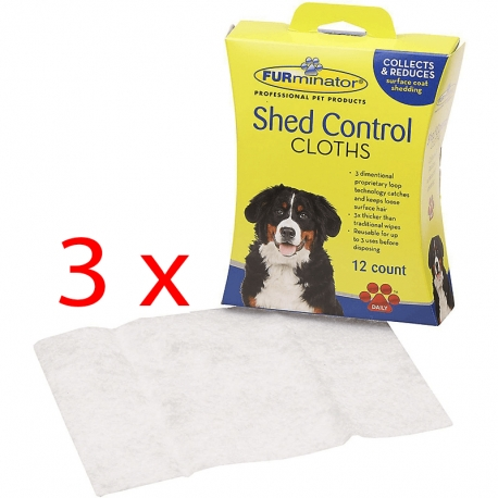 FURminator Shed Control Cloths Cane 3 x 12pz